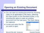 opening an existing document