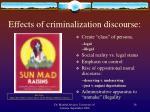effects of criminalization discourse