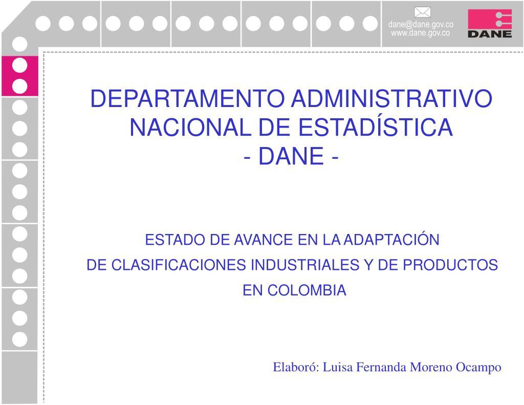 DEPARTAMENTO ADMINISTRATIVO NACIONAL DE ESTADÍSTICA