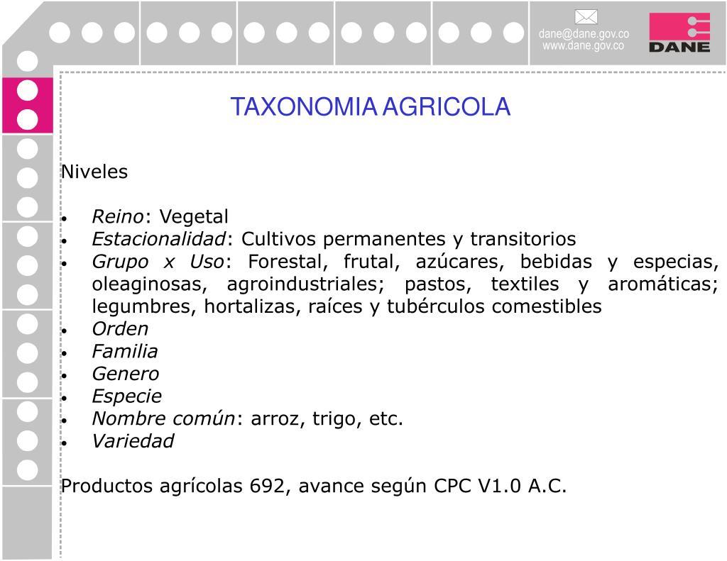 TAXONOMIA AGRICOLA
