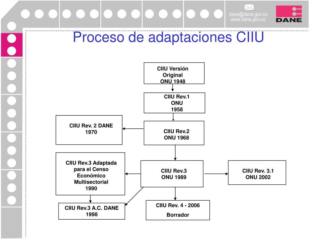 Proceso de adaptaciones CIIU