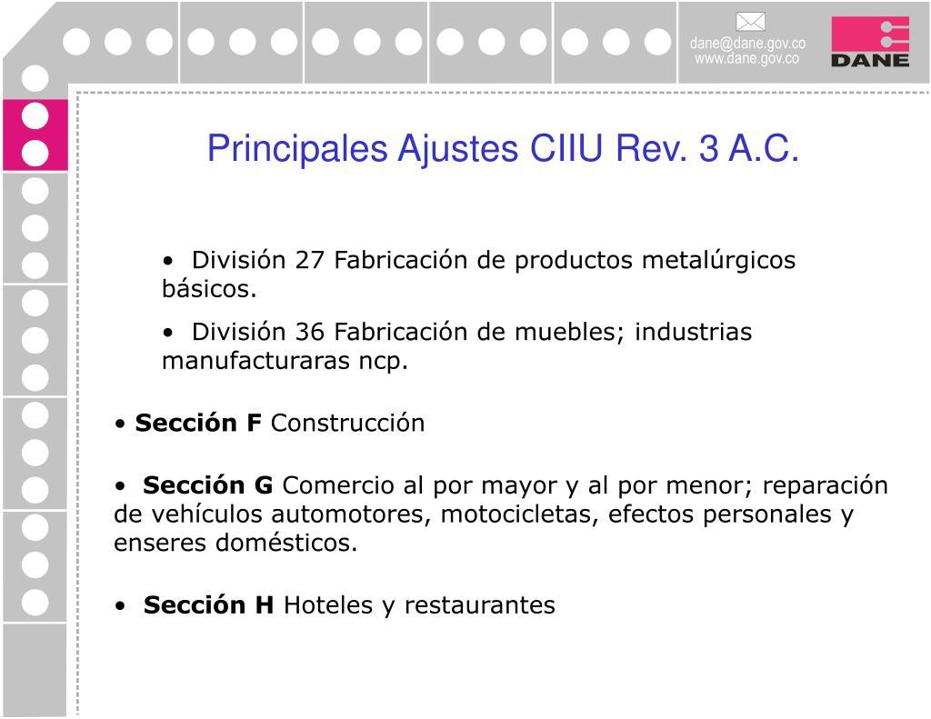 Principales Ajustes CIIU Rev. 3 A.C.