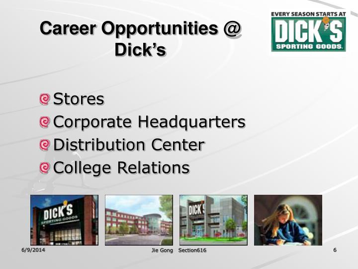 Career Opportunities @ Dick's