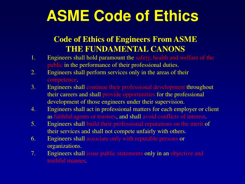 ASME Code of Ethics