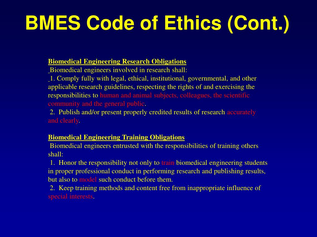 BMES Code of Ethics (Cont.)