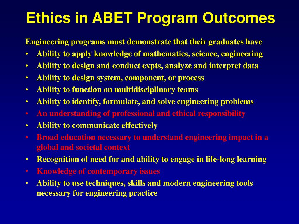 Ethics in ABET Program Outcomes