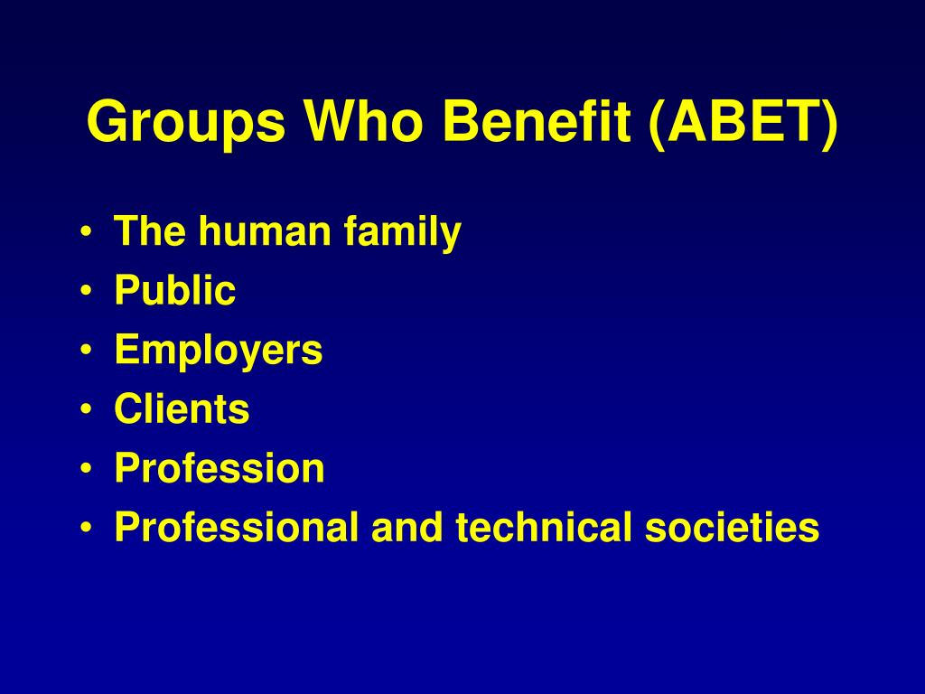 Groups Who Benefit (ABET)