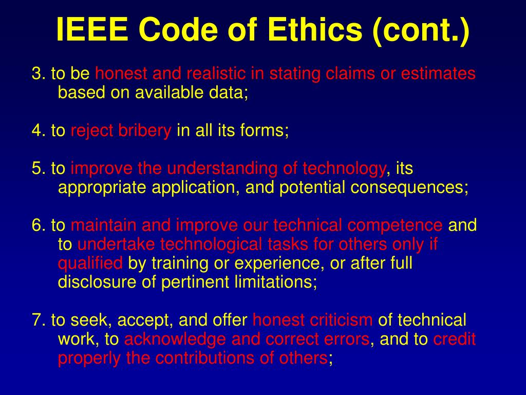 IEEE Code of Ethics (cont.)