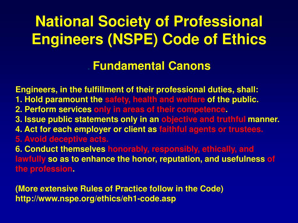 National Society of Professional Engineers (NSPE) Code of Ethics