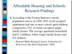 affordable housing and schools research findings