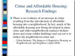 crime and affordable housing research findings