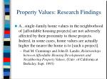 property values research findings