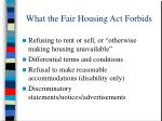 what the fair housing act forbids