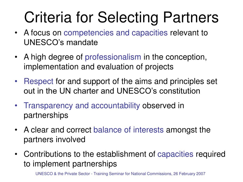 Criteria for Selecting Partners