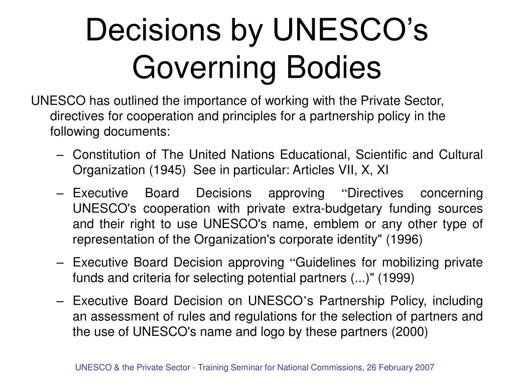 Decisions by UNESCO's Governing Bodies
