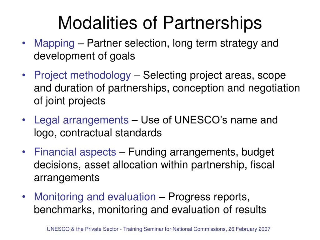 Modalities of Partnerships