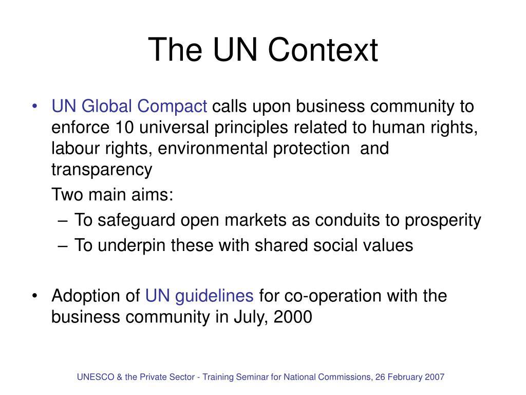 The UN Context