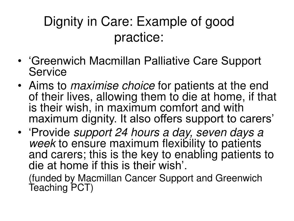 Dignity in Care: Example of good practice: