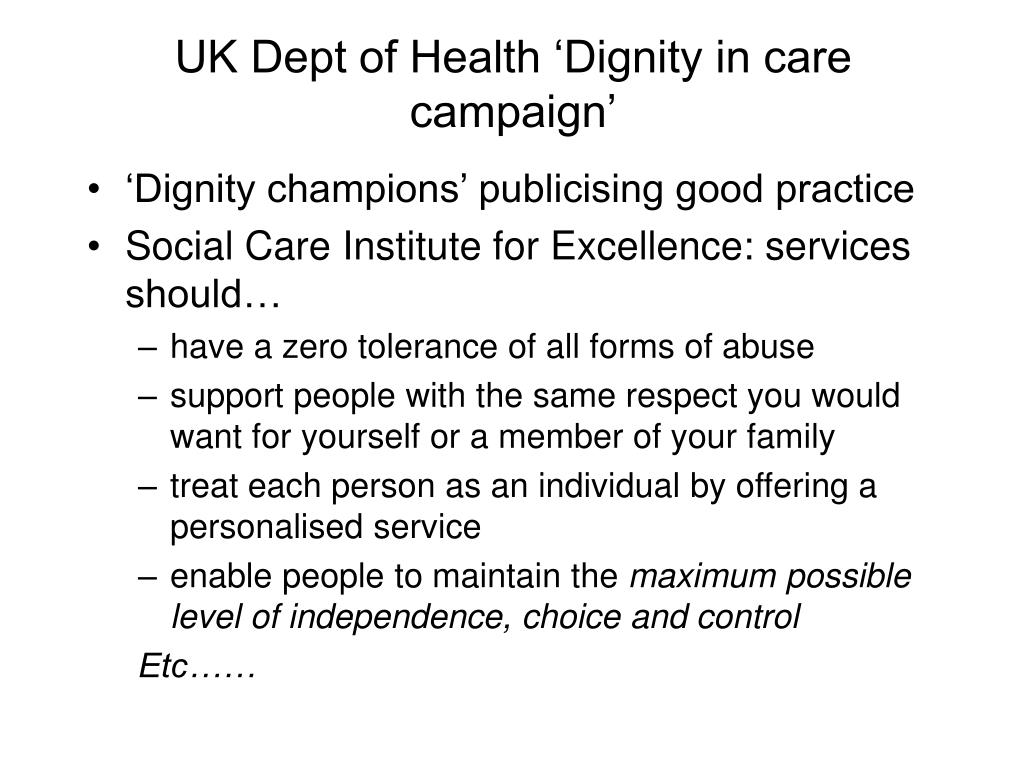 UK Dept of Health 'Dignity in care campaign'