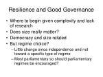 resilience and good governance