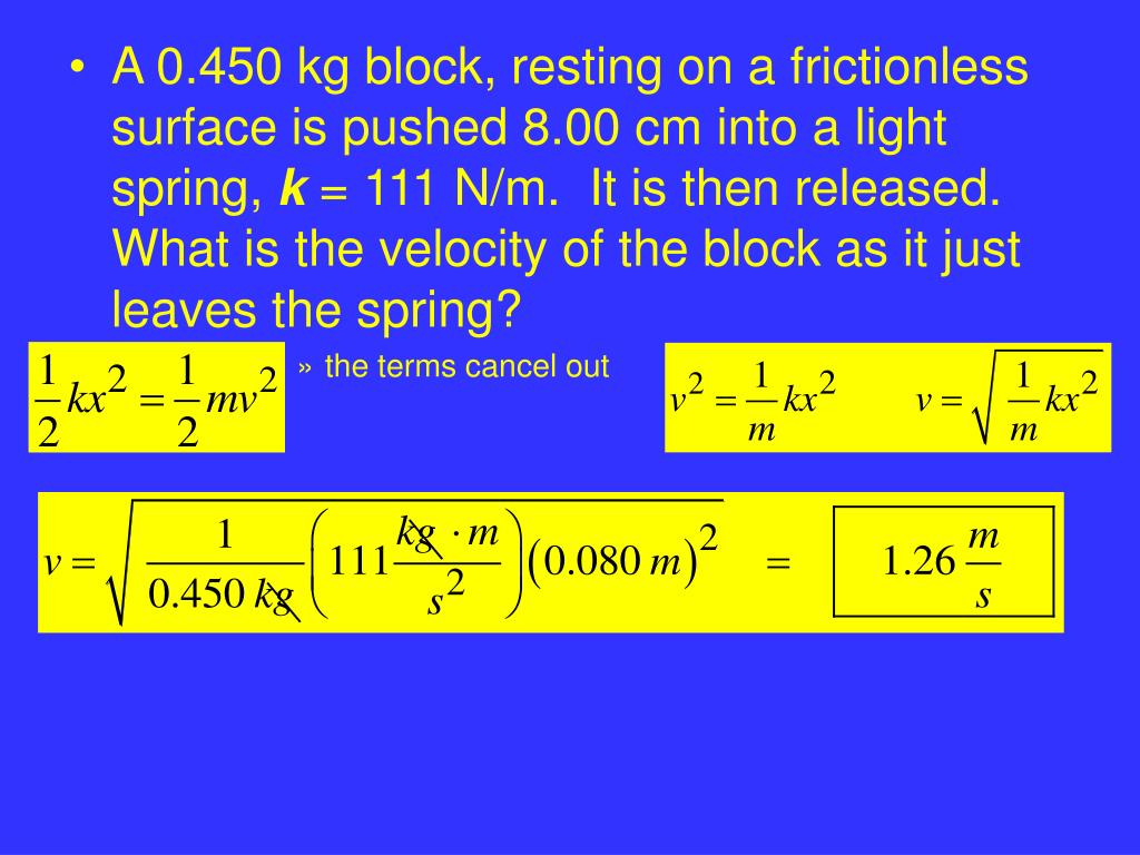 A 0.450 kg block, resting on a frictionless surface is pushed 8.00 cm into a light spring,