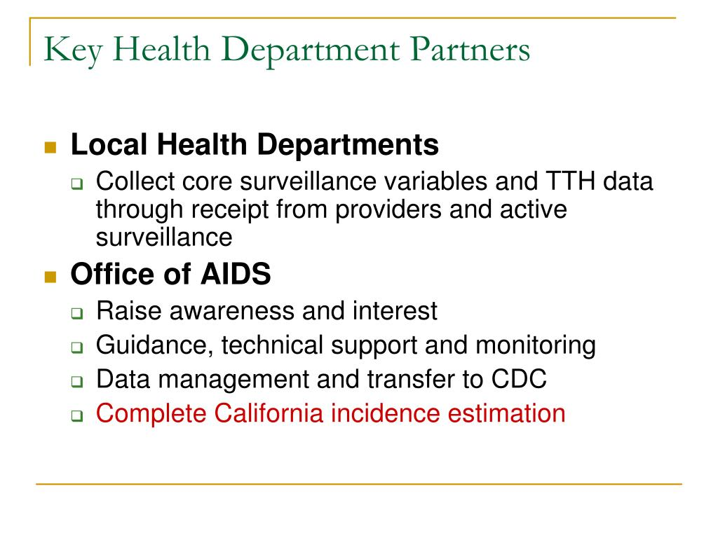 Key Health Department Partners