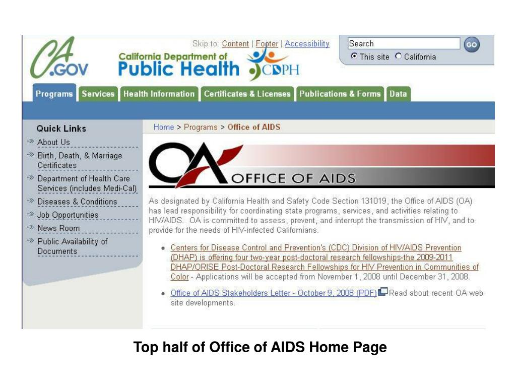 Top half of Office of AIDS Home Page
