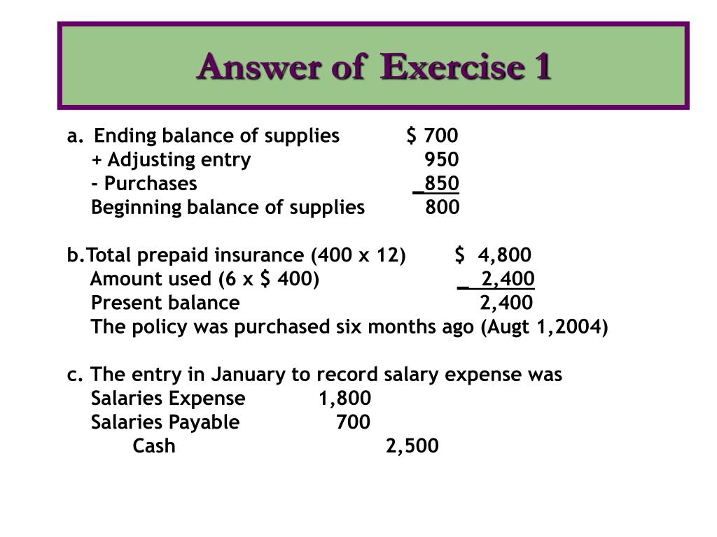 Answer of Exercise 1