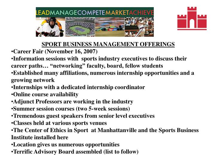 SPORT BUSINESS MANAGEMENT OFFERINGS