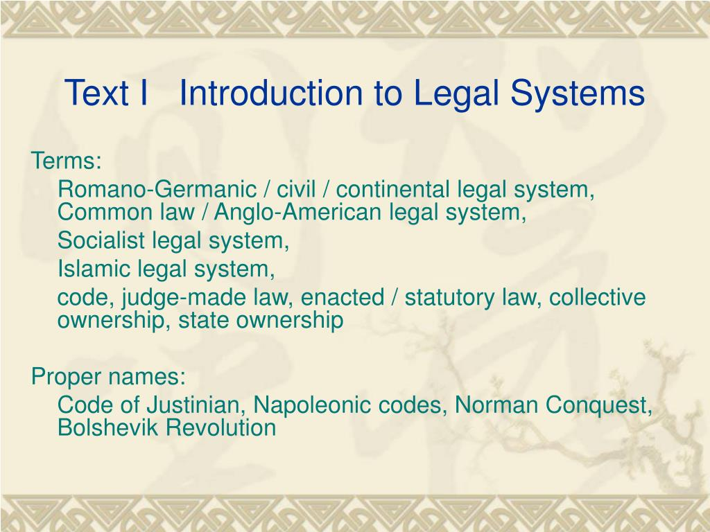 introduction to legal system Appropriate for courses in paralegal, legal studies, criminal justice, poltical science, and pre-law, any course that requires a brief introduction to the legal system affordable, concise, and newly designed, the eighth edition of introduction the american legal system describes the structure of.