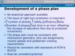 development of a phase plan