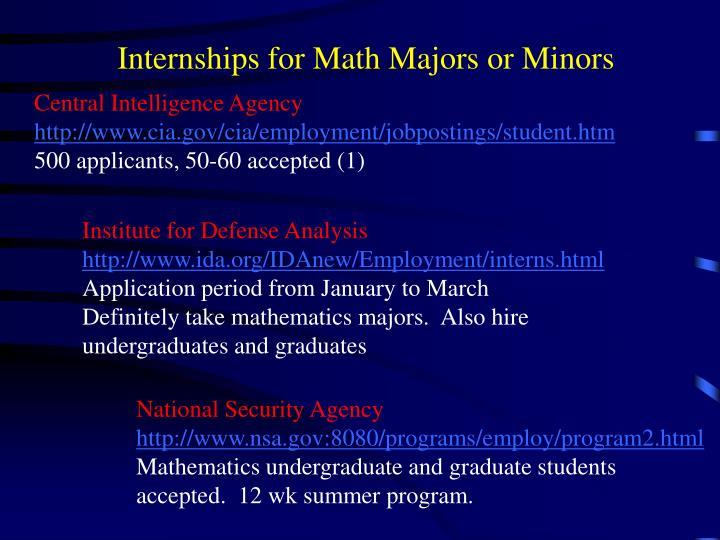 Internships for Math Majors or Minors