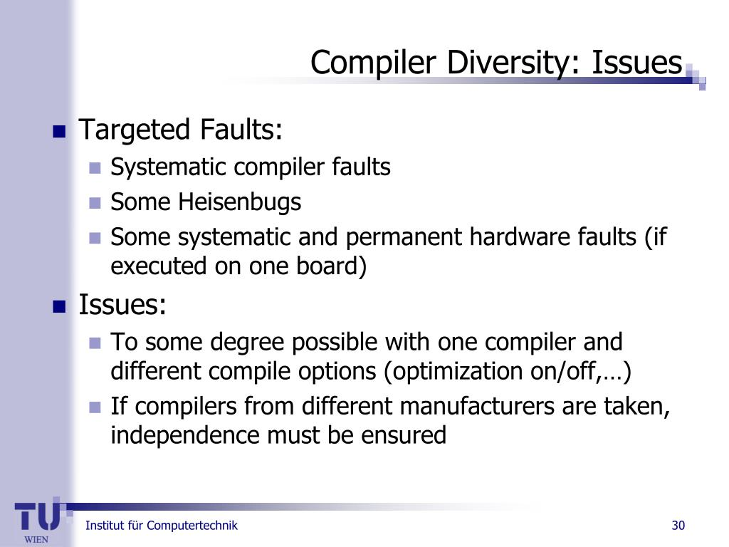 Compiler Diversity: Issues