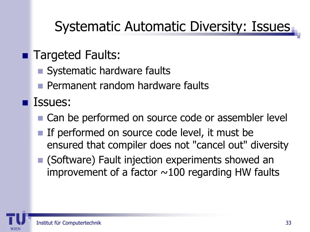 Systematic Automatic Diversity: Issues