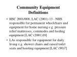 community equipment definitions