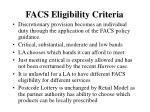 facs eligibility criteria