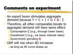 comments on experiment