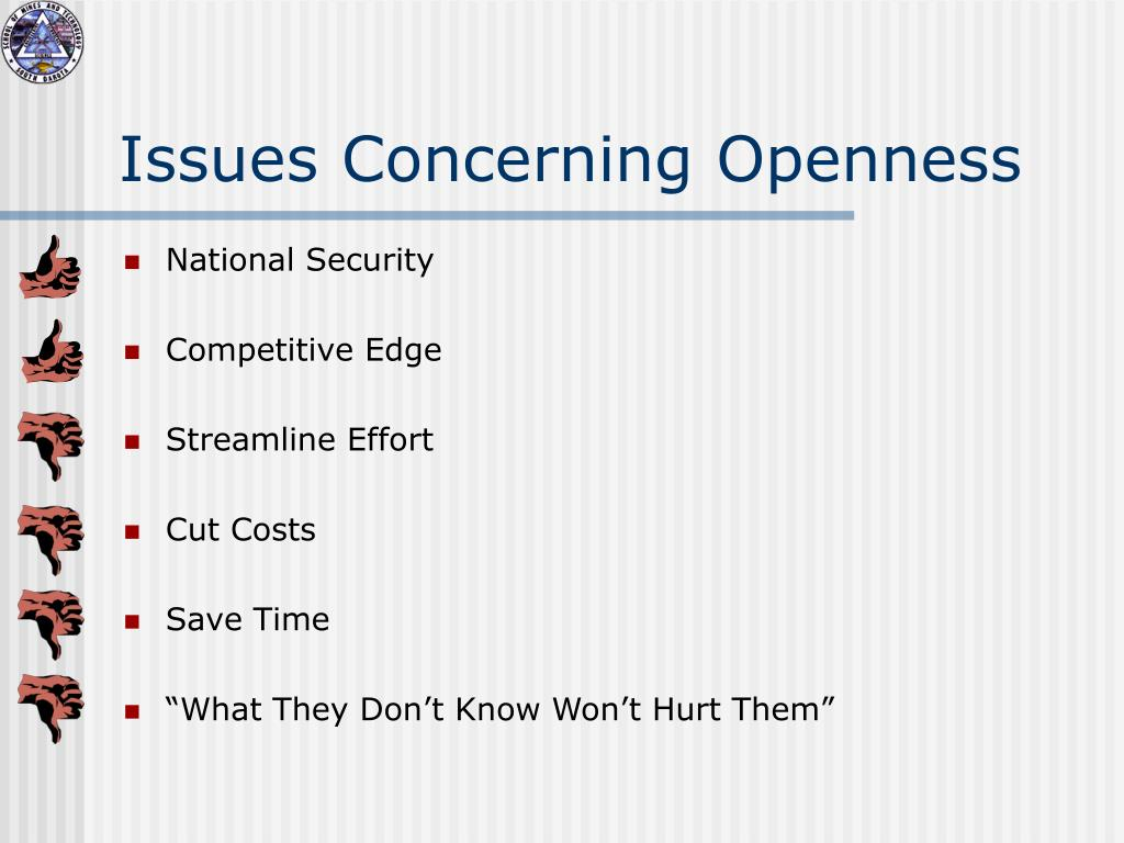 Issues Concerning Openness