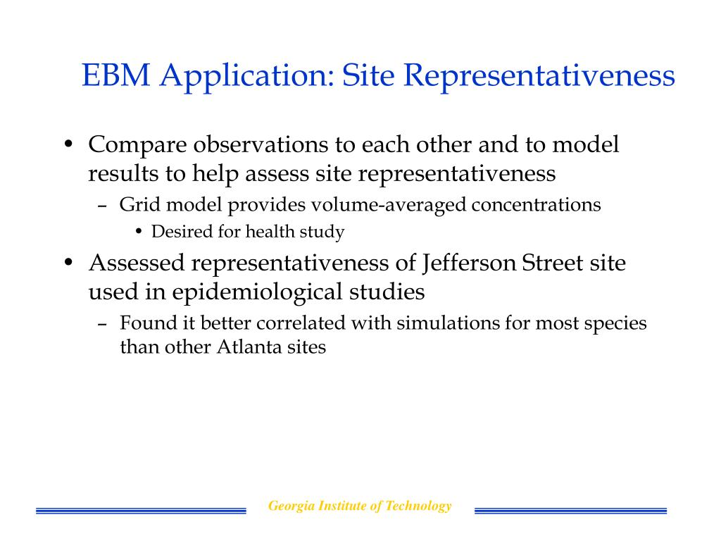 EBM Application: Site Representativeness