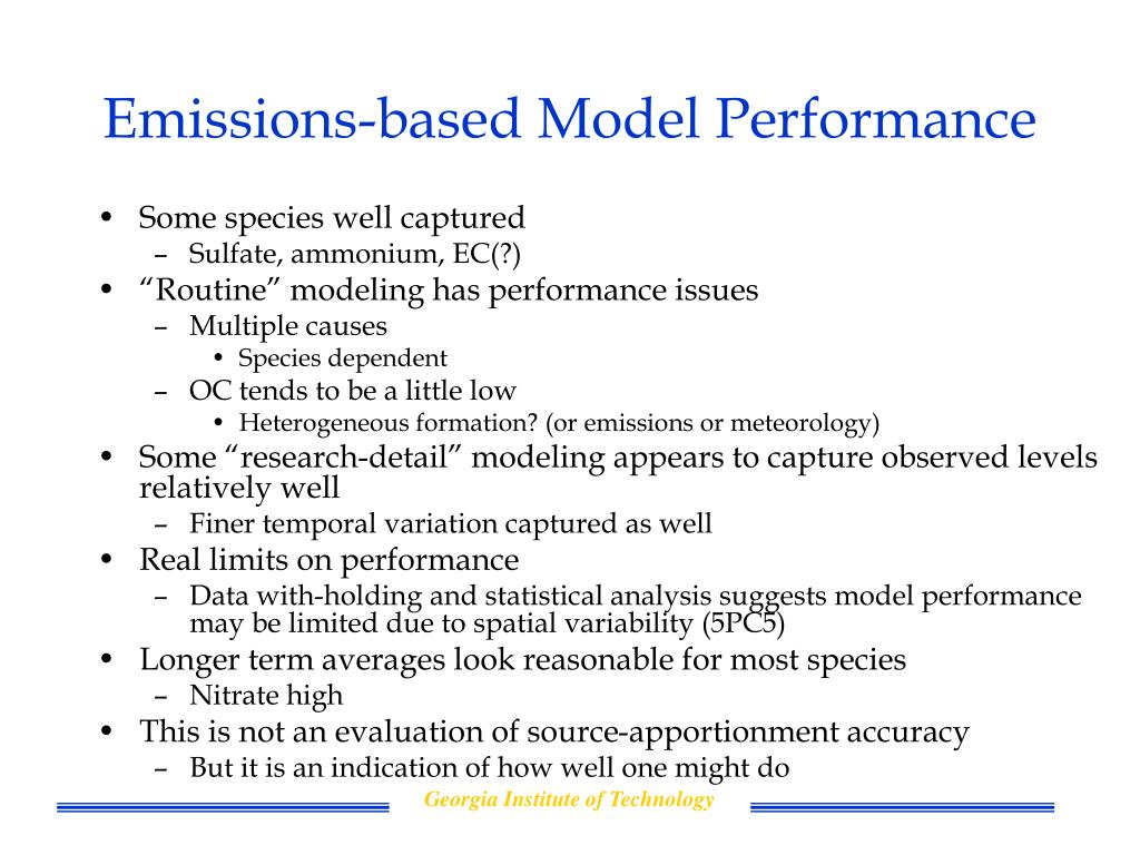 Emissions-based Model Performance