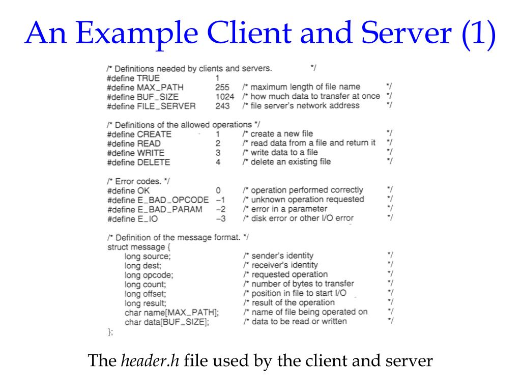 An Example Client and Server (1)