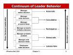 continuum of leader behavior