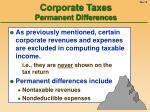 corporate taxes permanent differences