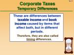 corporate taxes temporary differences