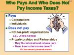 who pays and who does not pay income taxes