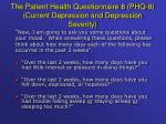 the patient health questionnaire 8 phq 8 current depression and depression severity