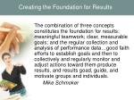 creating the foundation for results