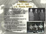 potsdam july 17 1945 u s russia britain