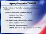 agency support of conops