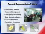 current requested audit work